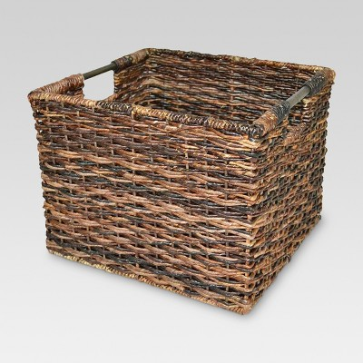 Wicker Large Milk Crate Dark Brown 11
