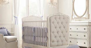 Upholstered Crib White Blue Nursery : Wonderful Baby Room Design