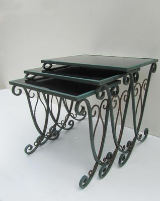 French Wrought Iron Nesting Tables, Set of 3 for sale at Pamono