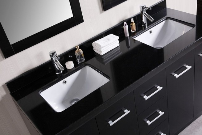 Modern double sink in the bathroom