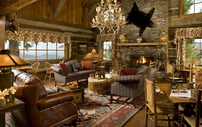 Checkered cabin curtains
