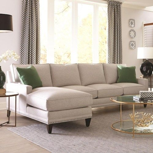 My Style II Customizable Left Chaise Sofa with Track Arms, Tapered Legs and Box Style Cushions by Rowe