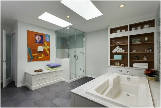Bathroom bench with storage space