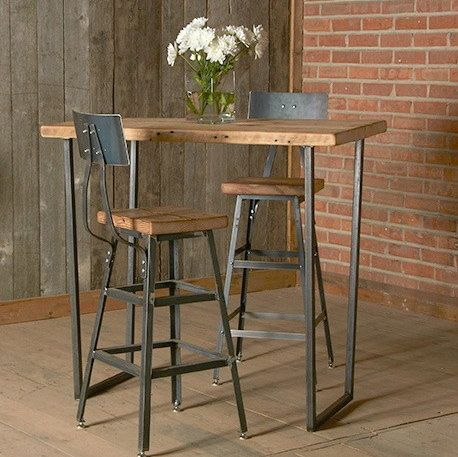 "Bar Height Harvest Barn Wood Stool with steel back (1) 25"" counter height stool with back. Your choice of wood finish and stool height"