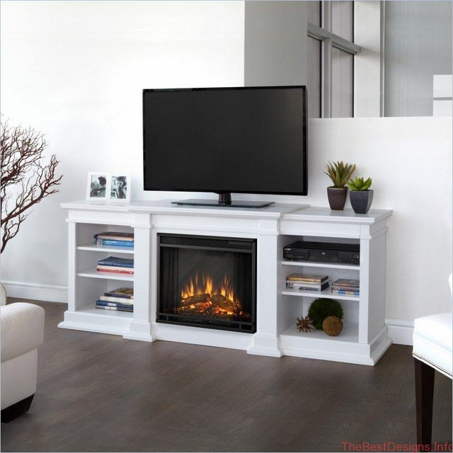 White electric fireplace television with open bookshelves