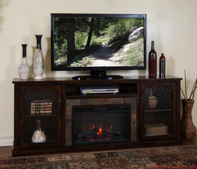 Electric fireplace TV stand oak glass door cabinets