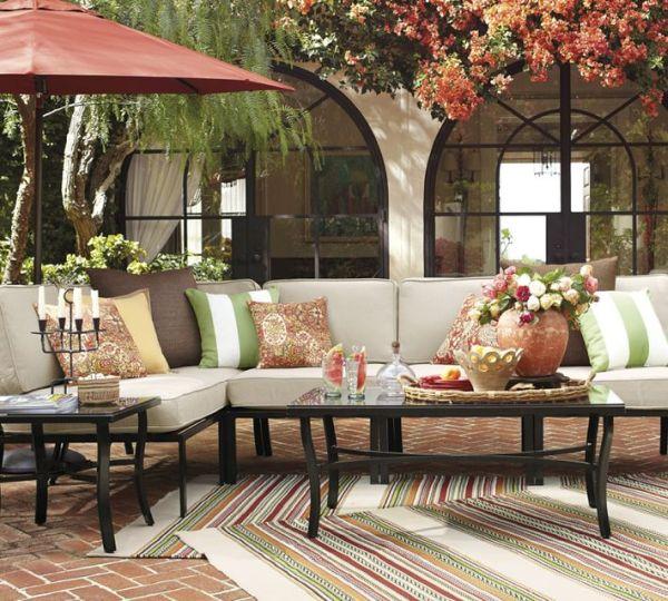 Terrace bench with umbrella