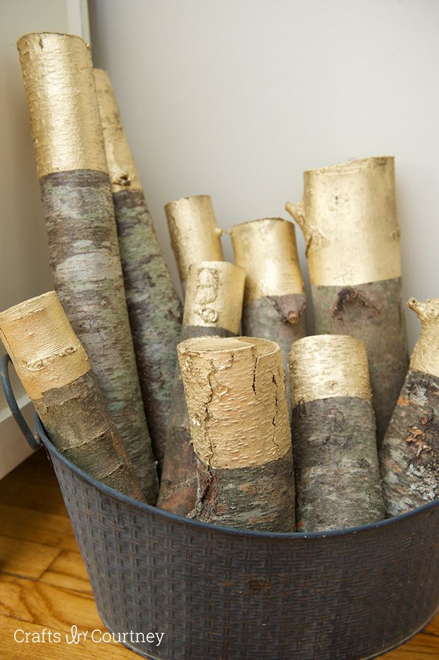 Gold Painted Decorative Logs