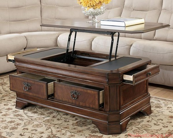 Coffee table with lifting table and storage space