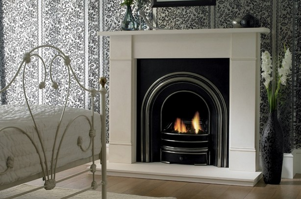 Marble and limestone surround gas fireplaces