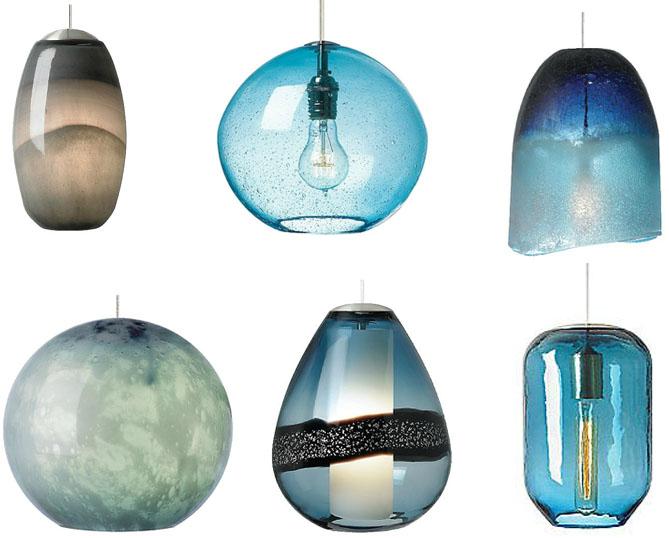 Light blue pendant lights