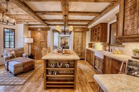 Rustic kitchen cabinets made from barn wood