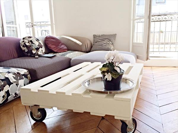 White coffee table on castors