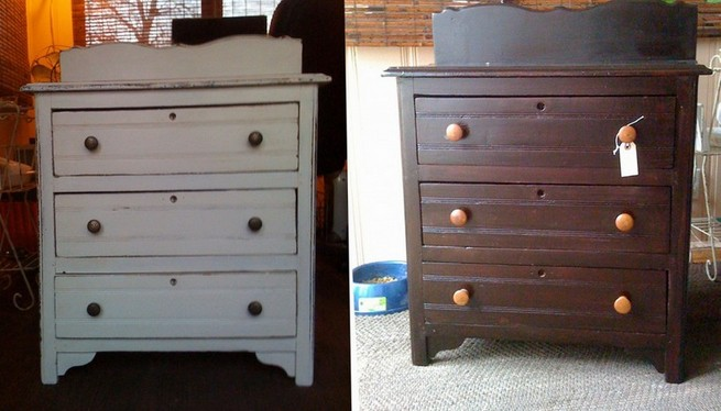 Painted dressers before and after