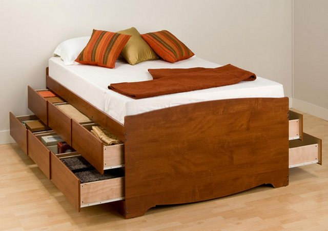 Queen size futon frame with drawers