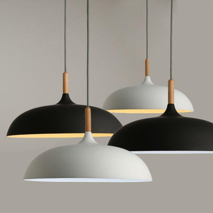 Detalles de Decorative Chandelier Hanging Modern Pendant Lights Wood & Aluminum Lampshade