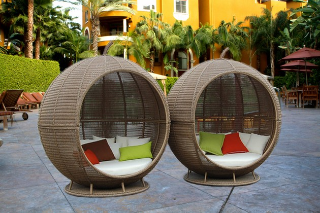 Wicker furniture for outdoors