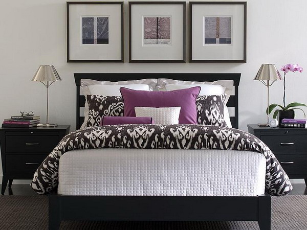 Purple white bedroom ideas
