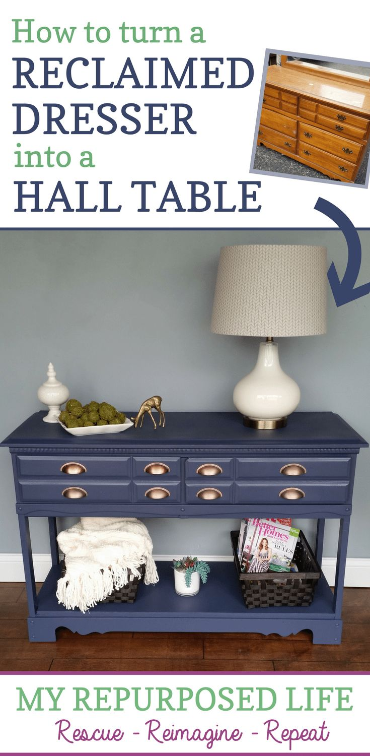 Repurposed Dresser into a useful hall table
