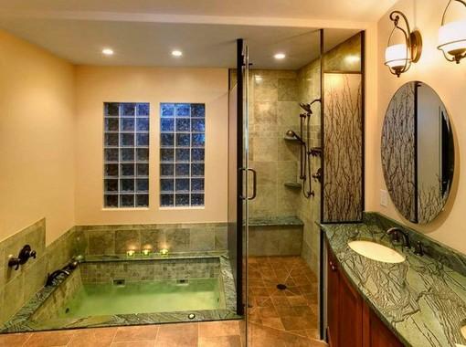 Walk in bathtub and shower combination