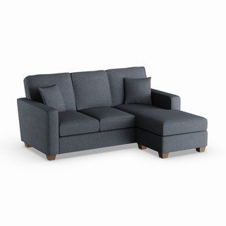 Copper Grove Cleome Reversible Chaise Sectional Sofa (Removable Cushions - Navy), Blue (Polyester)