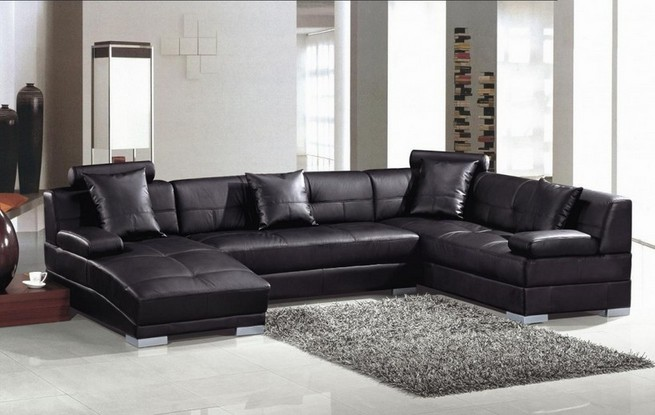 Small sectional black sofa