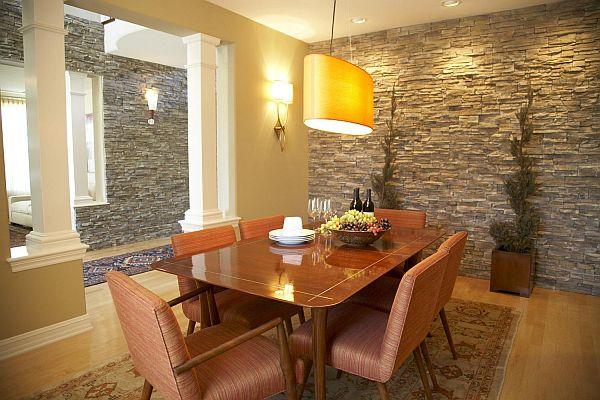 Design of interior walls made of stone