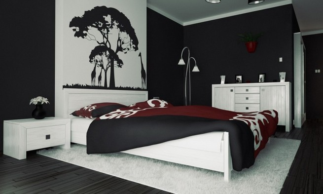 Black and white murals with color