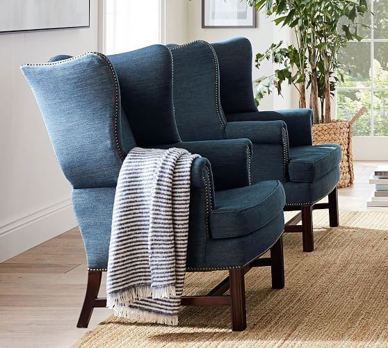 Thatcher Upholstered Armchair, Polyester Wrapped Cushions, Linen Blend Pink Magenta At Pottery Barn - Furniture - Chairs & Ottomans
