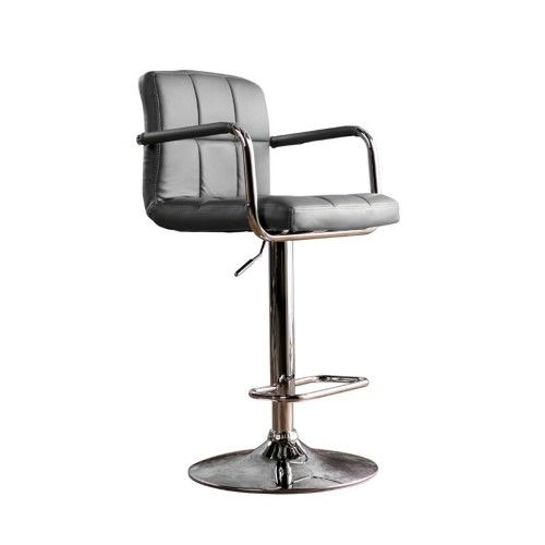 Furniture of America Reiley Leather Adjustable Bar Stool in Gray