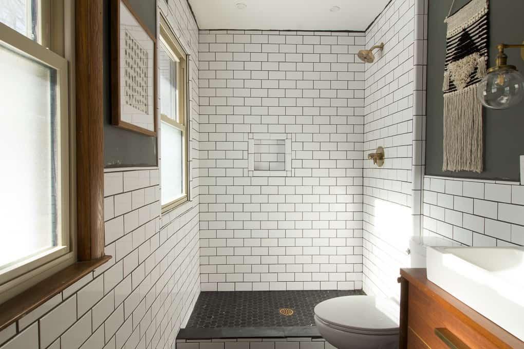 Contemporary subway tile bathroom