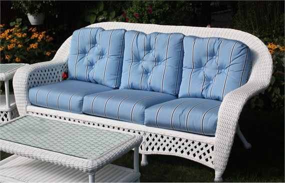 White Outdoor Wicker Sofa: Montauk Collection