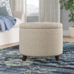 Round storage ottoman for room coziness
